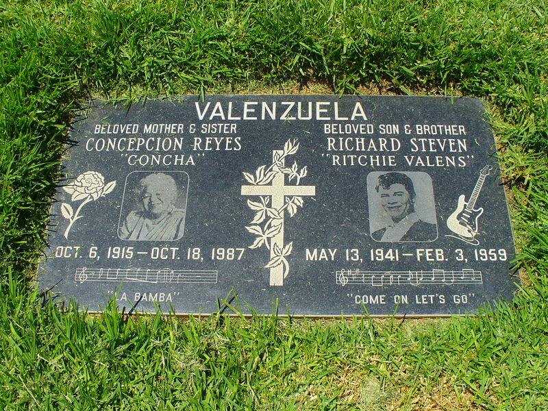 Calif. is that of singer Ritchie Valens and his mother, Connie Reyes.